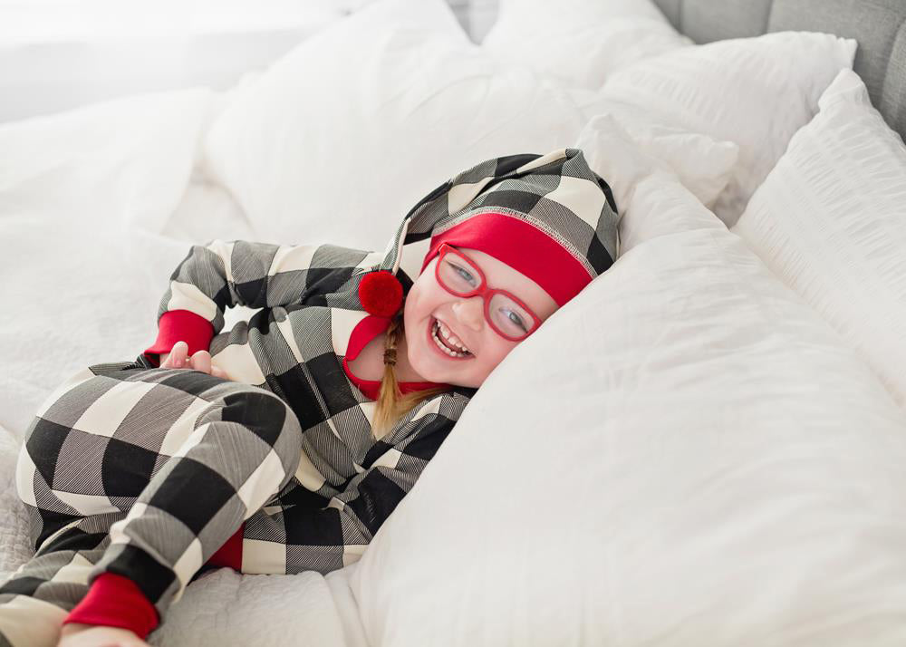 Buffalo Check Organic Kids Long Sleeve PJ & Cap Set