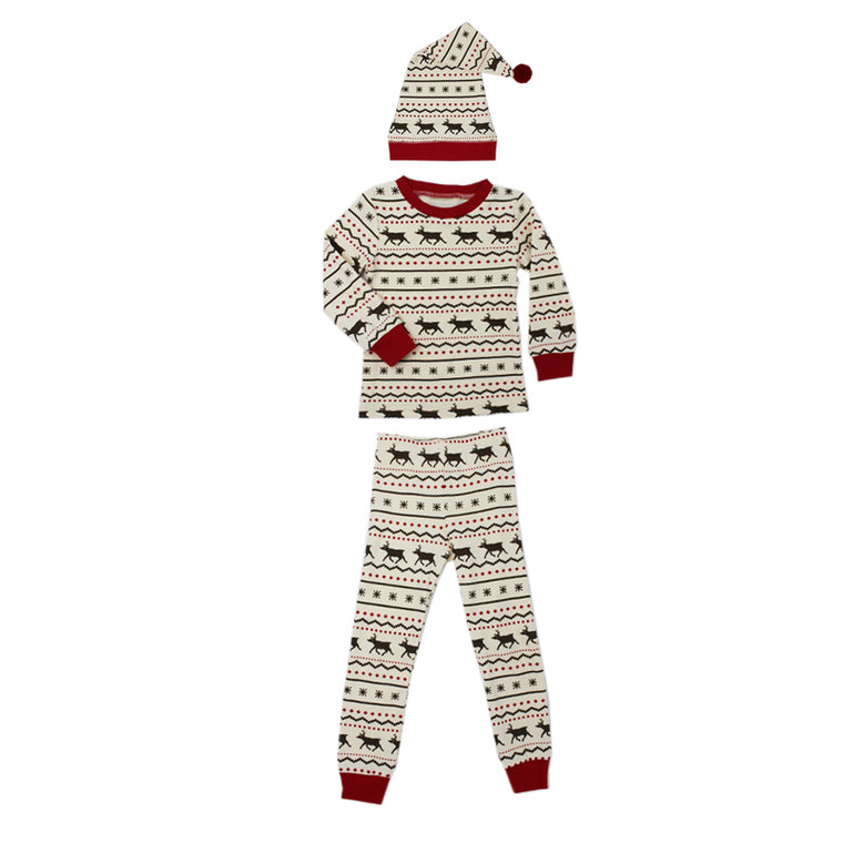 Fair Isle Reindeer Organic Kids Long Sleeve PJ & Cap Set