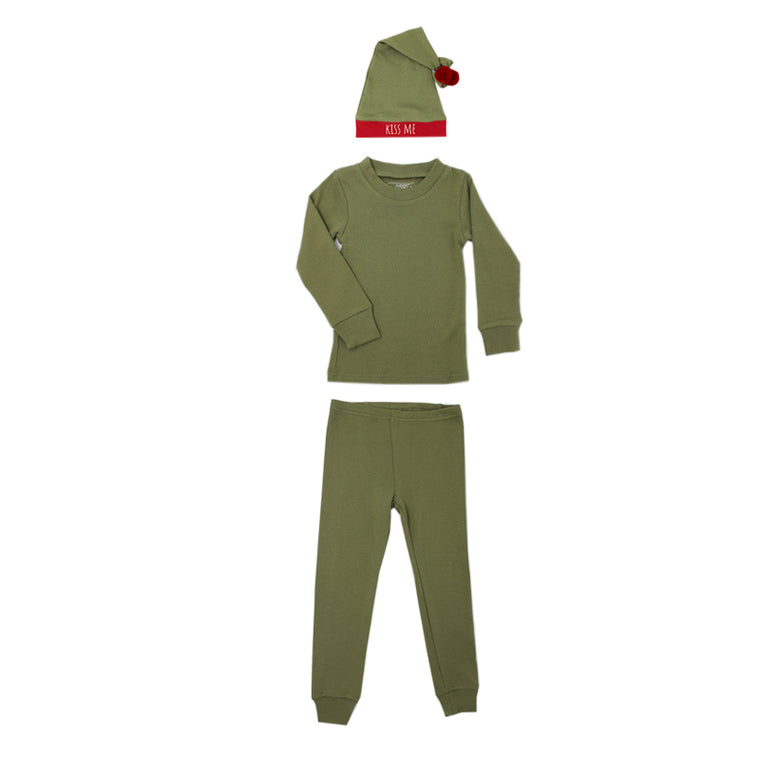 Mistletoe Organic Kids Long Sleeve PJ & Cap Set