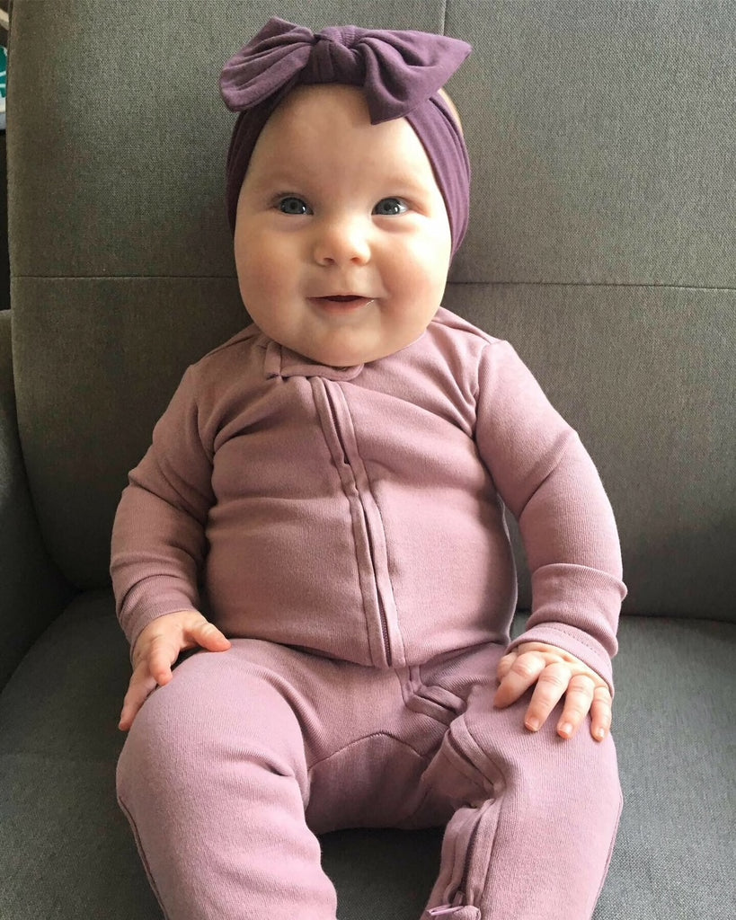 Organic Zipper Footie in Lavender