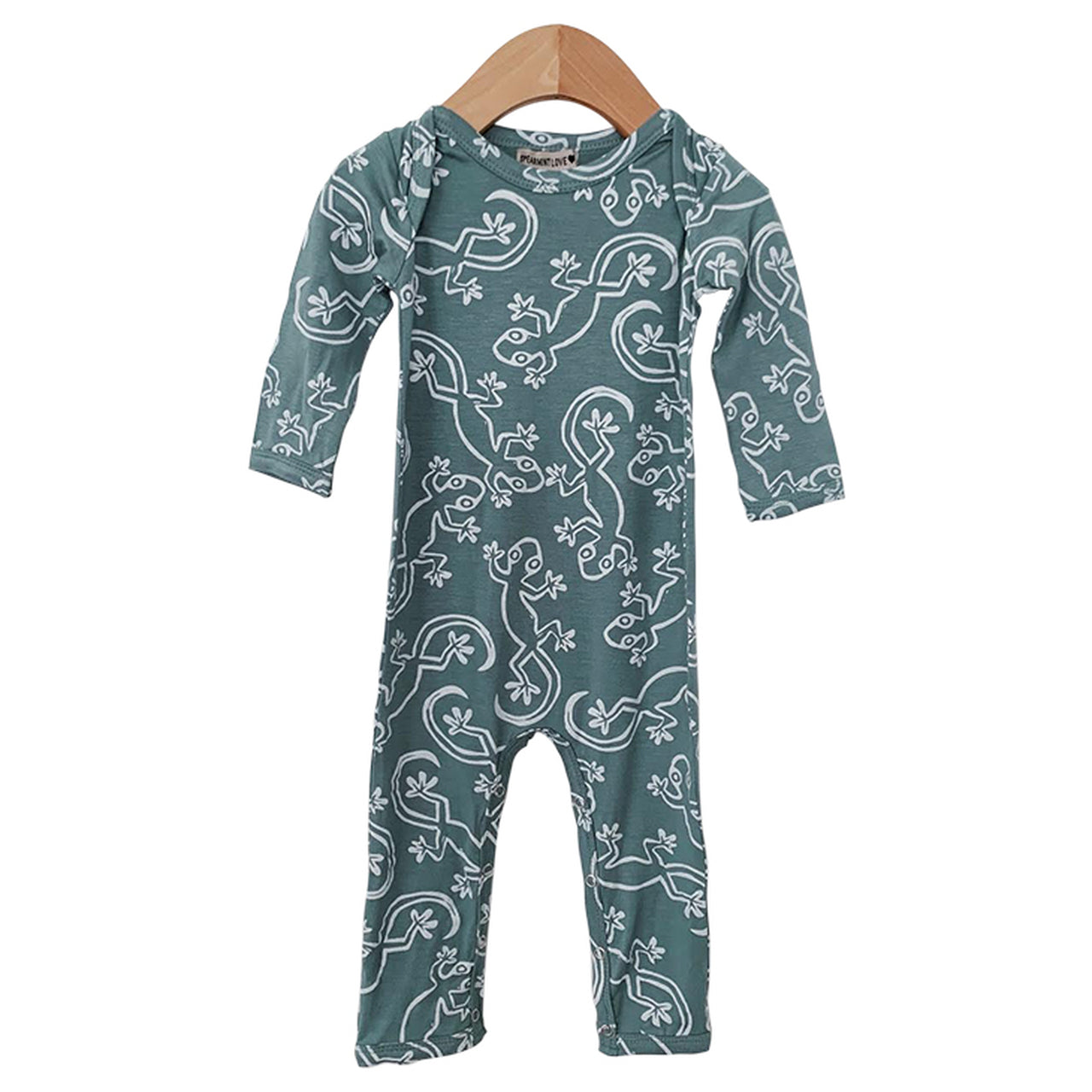 Seafoam Lizard Long Sleeve Romper