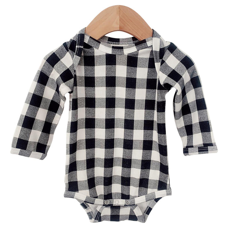 Black Gingham Long Sleeve Bodysuit
