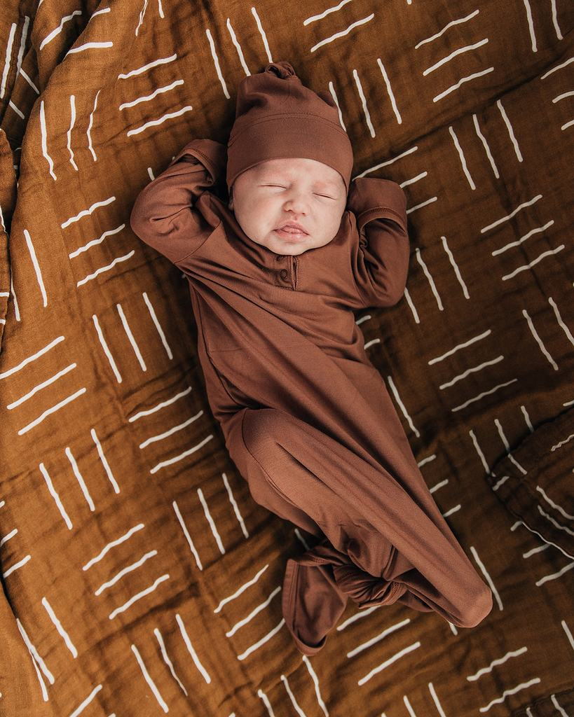 Mustard Mudcloth Muslin Swaddle Blanket