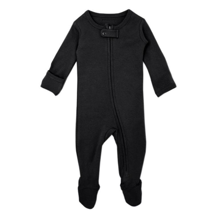 Organic Zipper Footie in Black