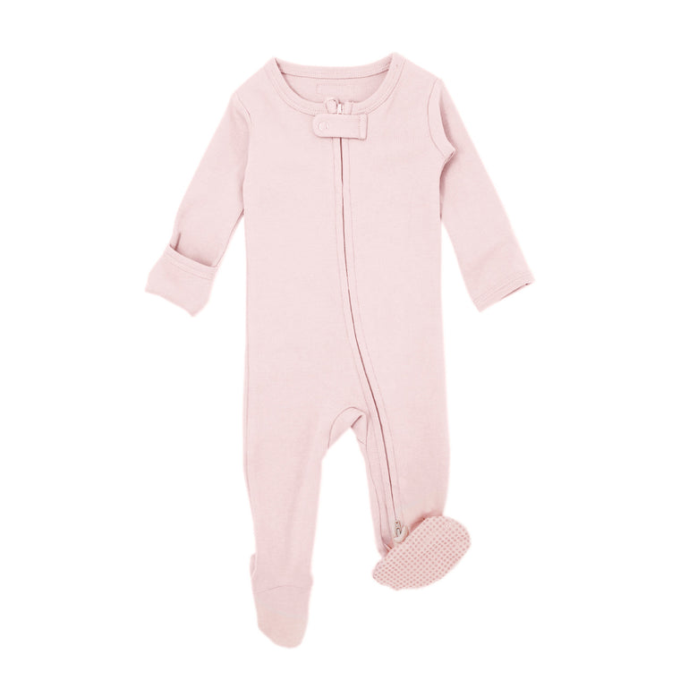 Organic Zipper Footie in Blush