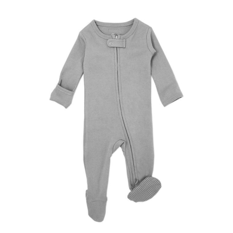 Organic Zipper Footie in Light Gray