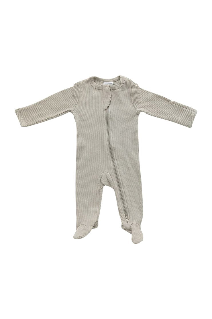 Oatmeal Organic Cotton Ribbed Zipper Footie