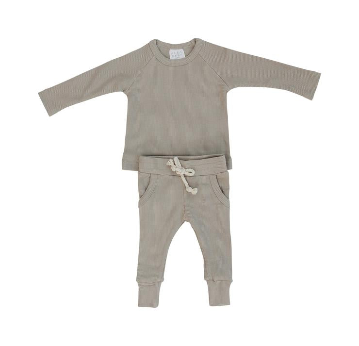 Organic Cotton Oatmeal Ribbed Two-Piece Pocket Set