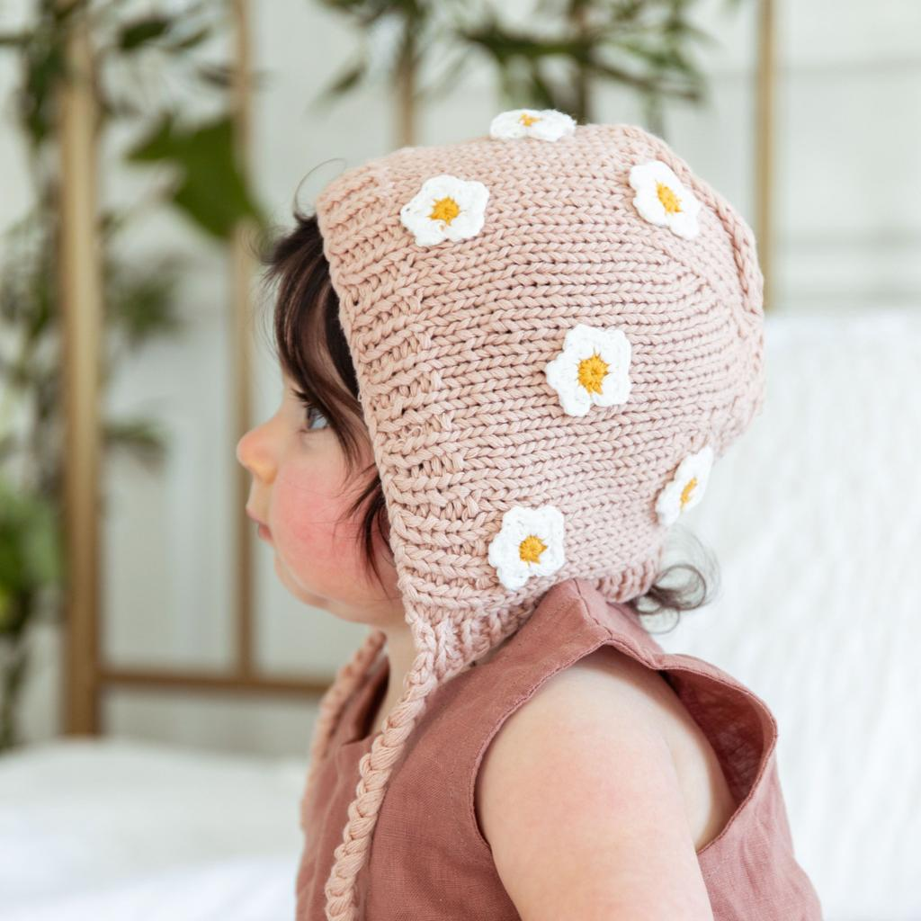 Pink April Hand-Knit Cotton Bonnet