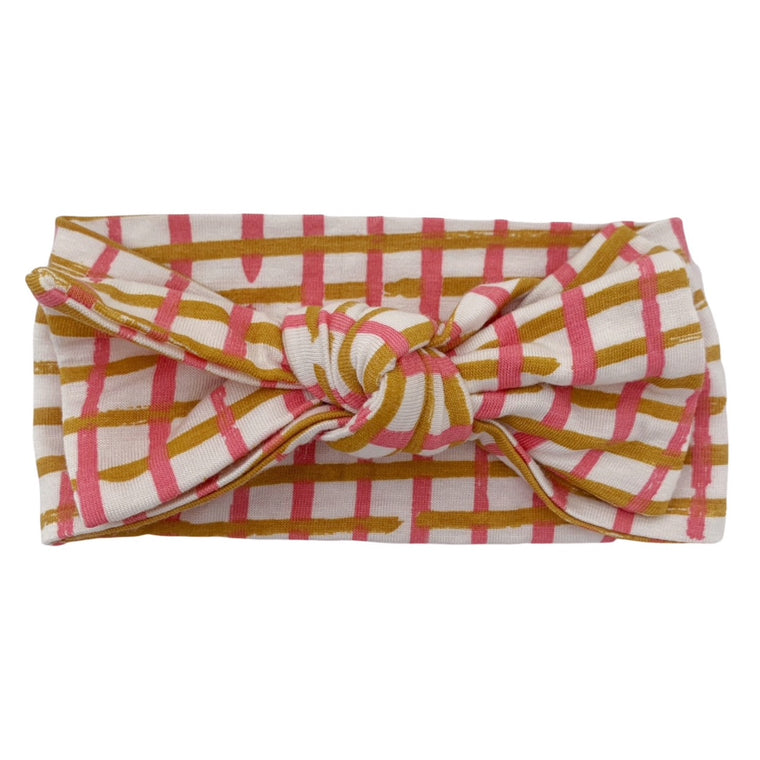Pink Check Knot Headband Bow