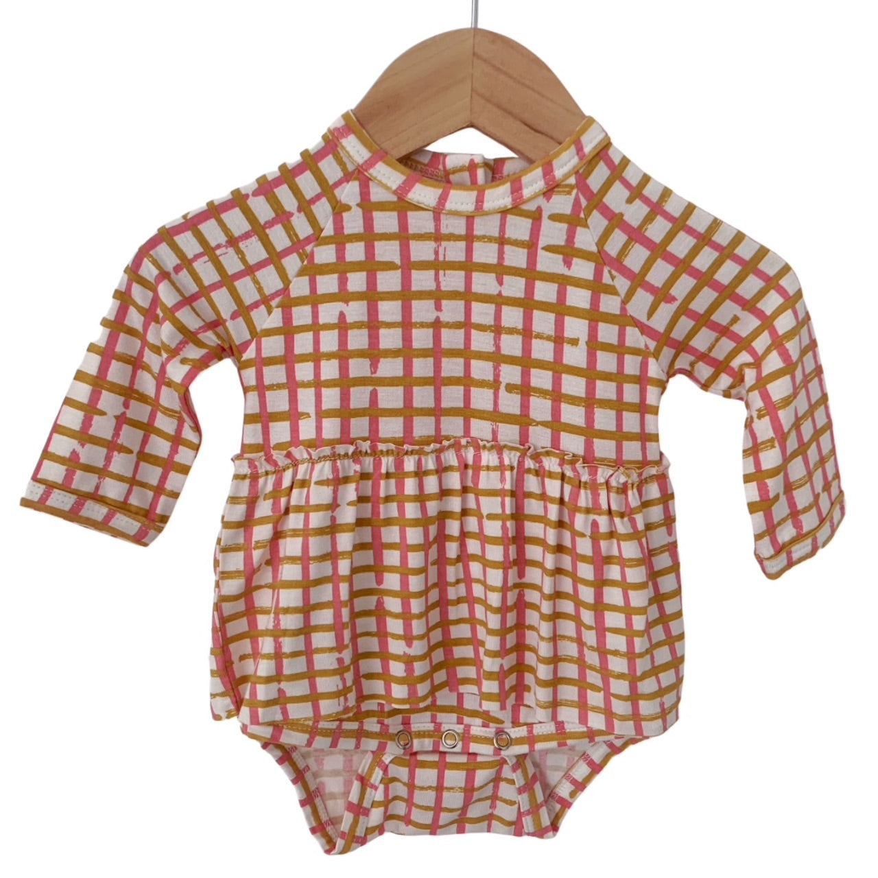 Pink Check Long Sleeve Skirted Bodysuit