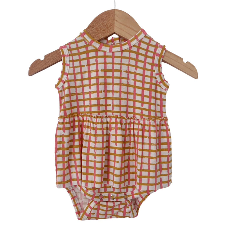 Pink Check Sleeveless Skirted Bodysuit