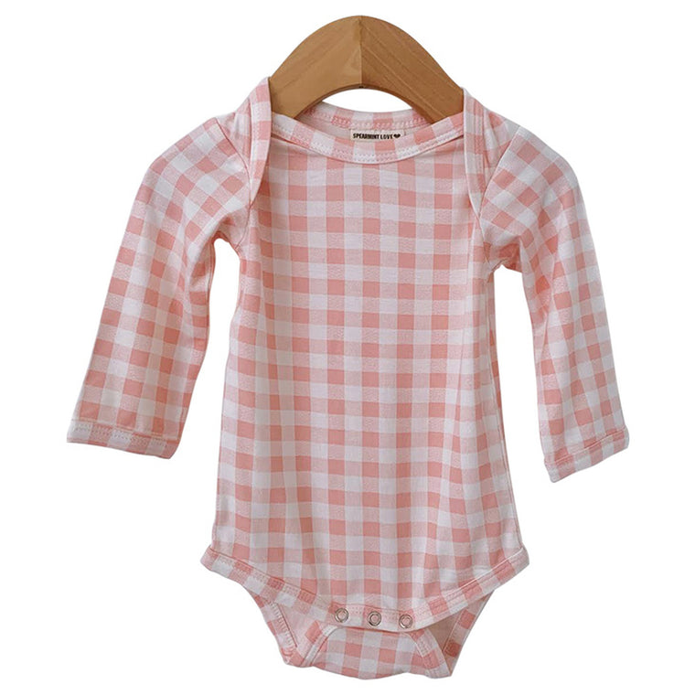 Pink Gingham Long Sleeve Bodysuit