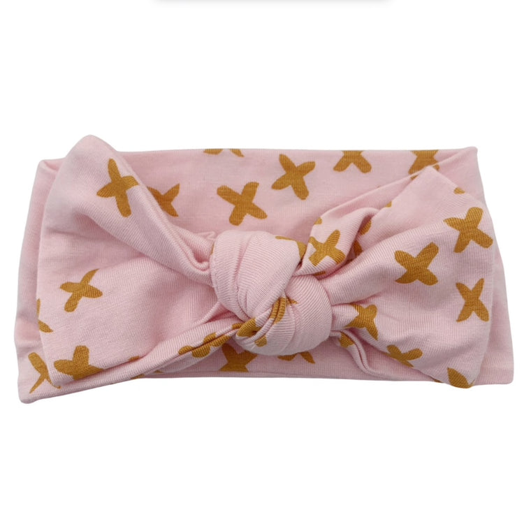 Pink Kisses Knot Headband Bow