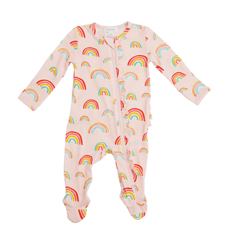 Pink Rainbow Ruffle Zipper Footie
