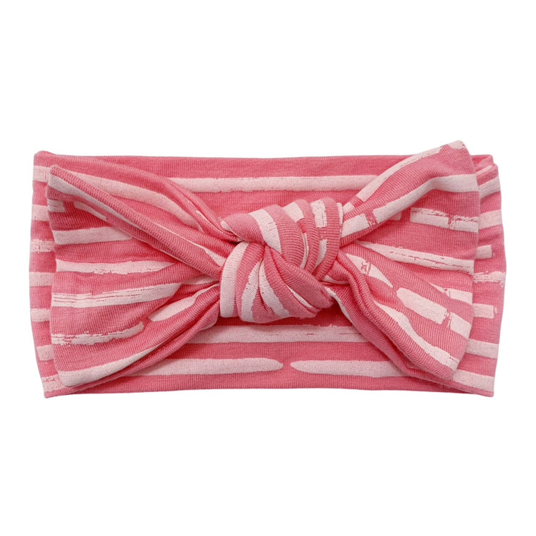 Pink Stripe Knot Headband Bow
