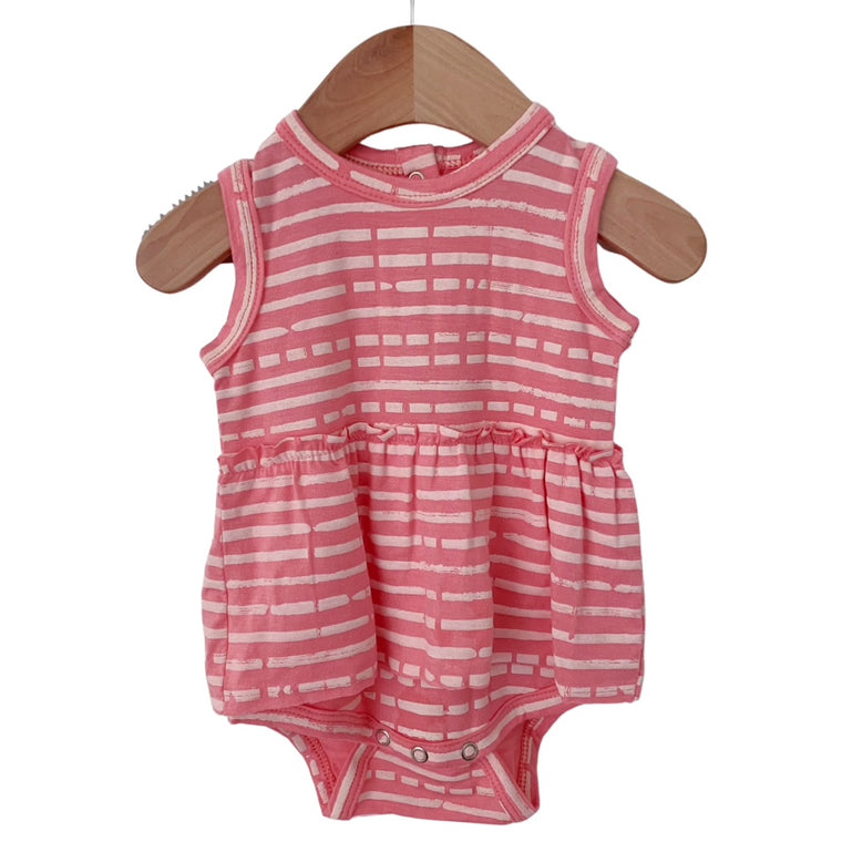 Pink Stripe Sleeveless Skirted Bodysuit