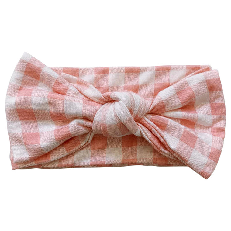 Pink Gingham Knot Bow