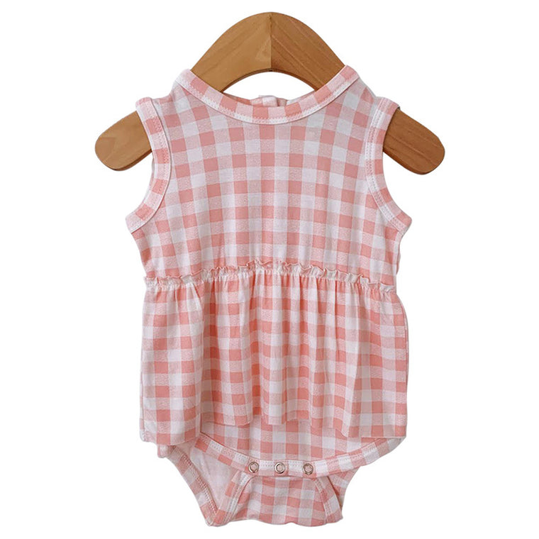 Pink Gingham Sleeveless Skirted Bodysuit