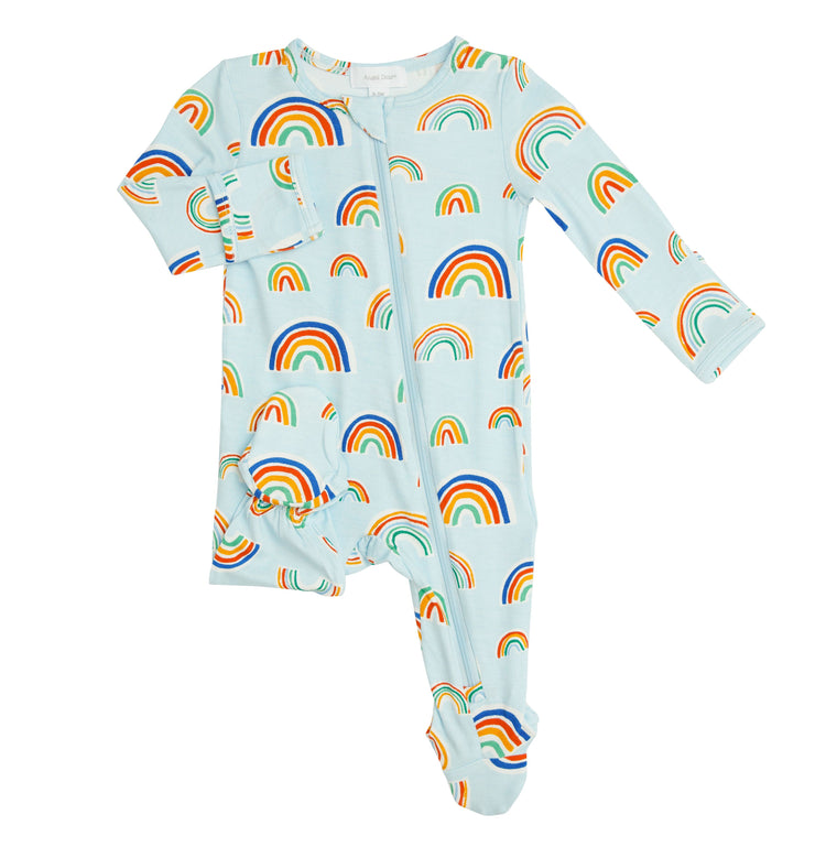 Blue Rainbows Zipper Footie