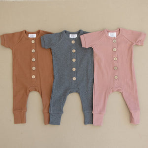 Rose Ribbed Short Sleeve Cotton Button Romper