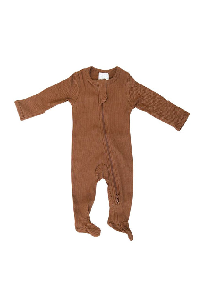 Rust Organic Cotton Ribbed Zipper Footie