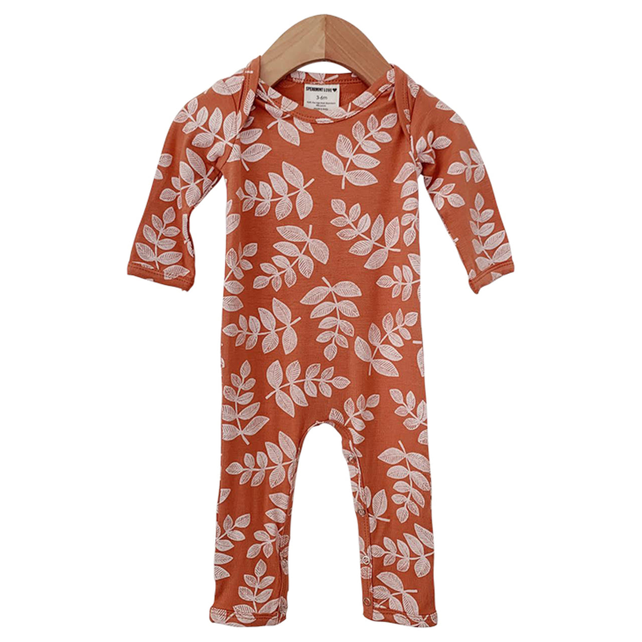 Rust Fern Long Sleeve Romper