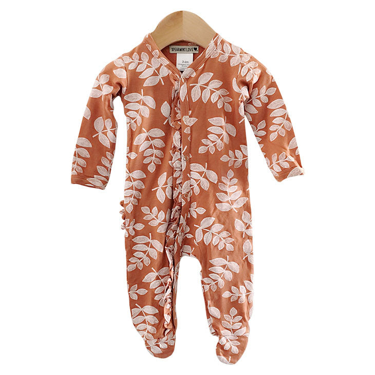 Rust Fern Ruffle Footed Romper