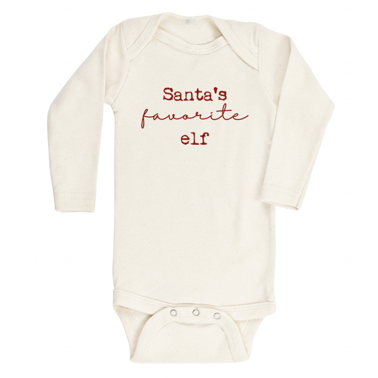Santa's Favorite Elf Organic Long Sleeve Bodysuit