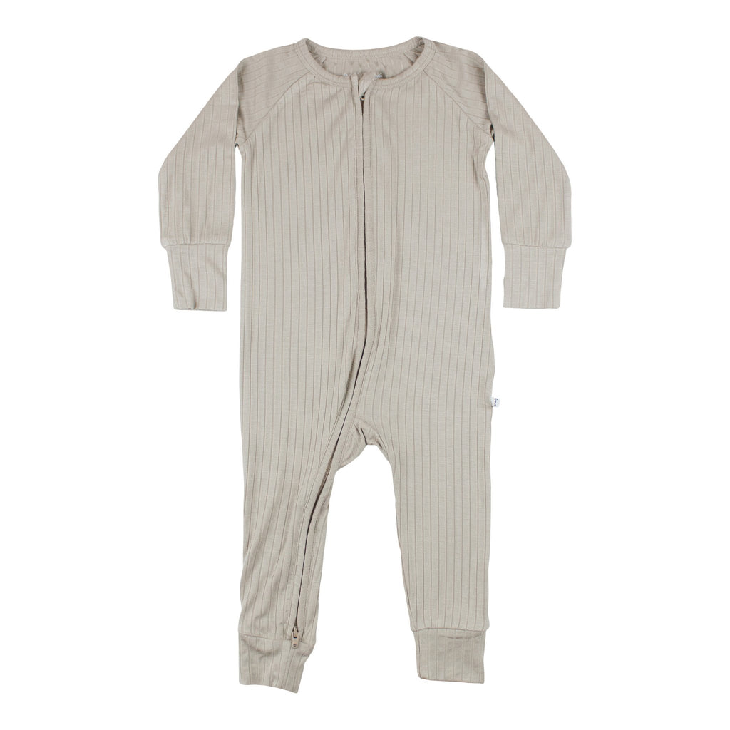 Taupe Ribbed Zip Romper