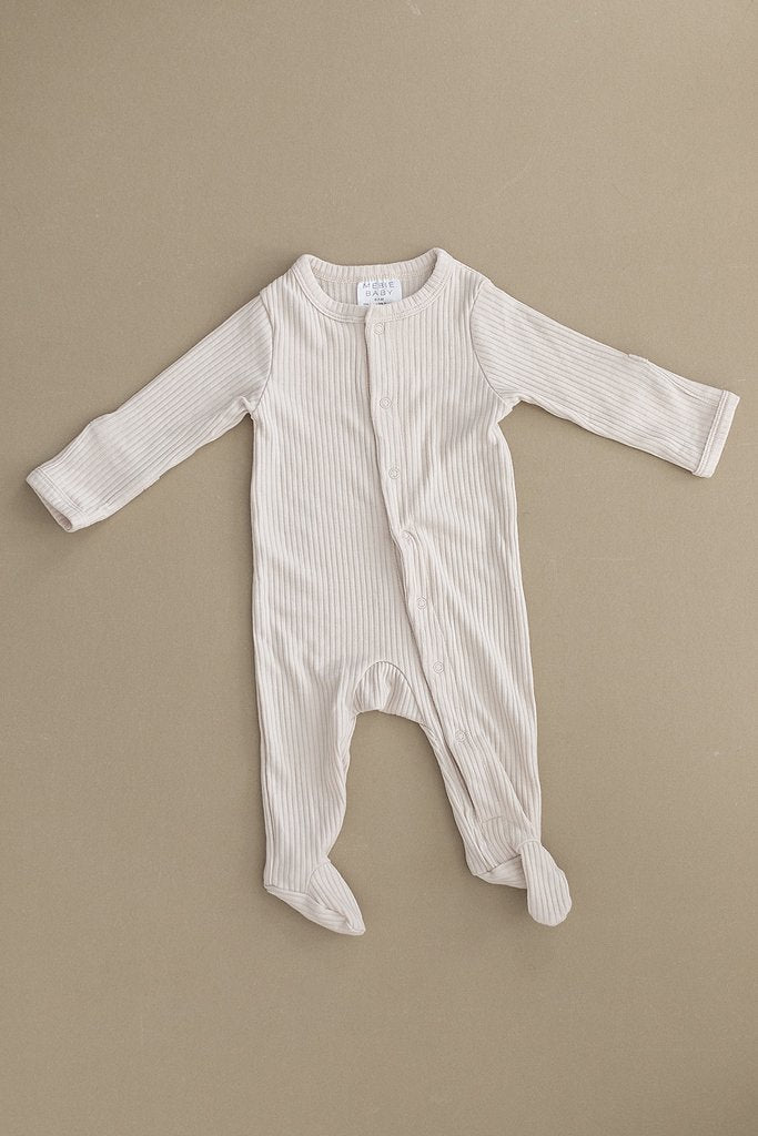 Vanilla Ribbed Footed One-piece