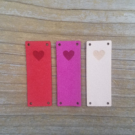 Heart Foldover Faux Suede Tags