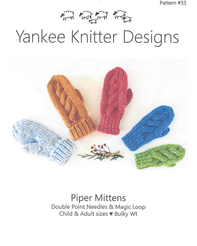 Yankee Knitters Piper Mittens Pattern #33