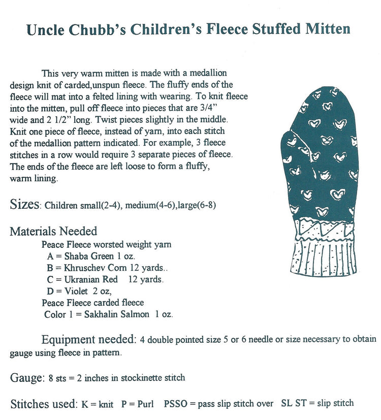 Child's Uncle Chubbs Mittens Pattern