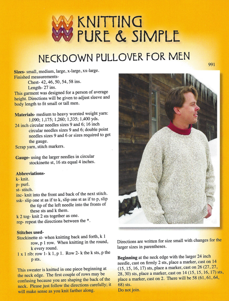 Knitting Pure & Simple Men's Neckdown Pullover Pattern #991