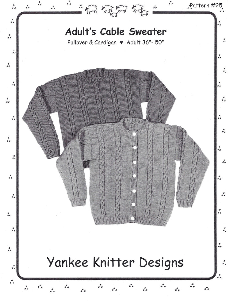 Yankee Knitter Adult's Cable Sweater Pattern #25