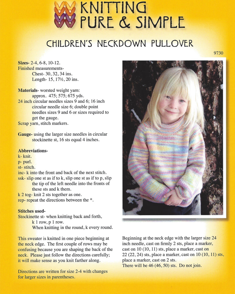 Knitting Pure & Simple Children's Neckdown Pullover #9730