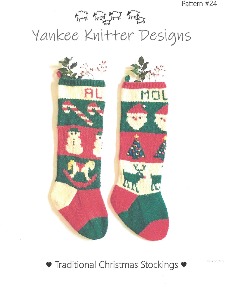 Yankee Knitter Traditional Christmas Stockings Pattern #24