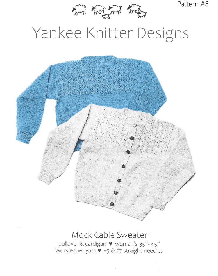 Yankee Knitter Mock Cable Sweater Pattern #8