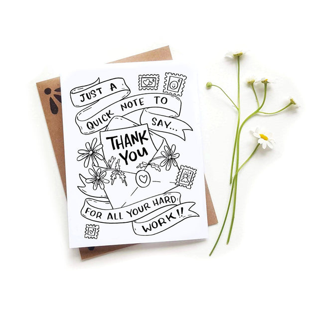 Thank You Note Coloring Card 1