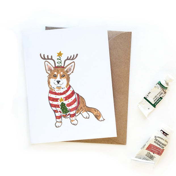 Ugly Sweater Corgi Christmas Card 1