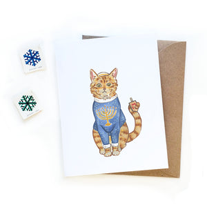 Ugly Sweater Cat Hanukkah Card