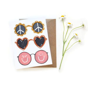 Peace Love Happy Sunglasses Card