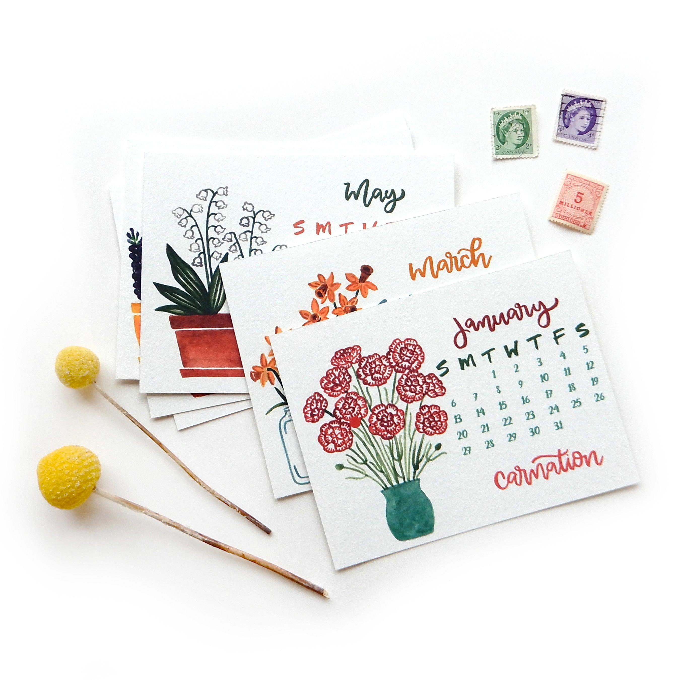 2019 Birth Month Flowers Desk Calendar Sketchy Notions