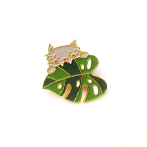 Cat Monstera Enamel Pin *SECONDS*