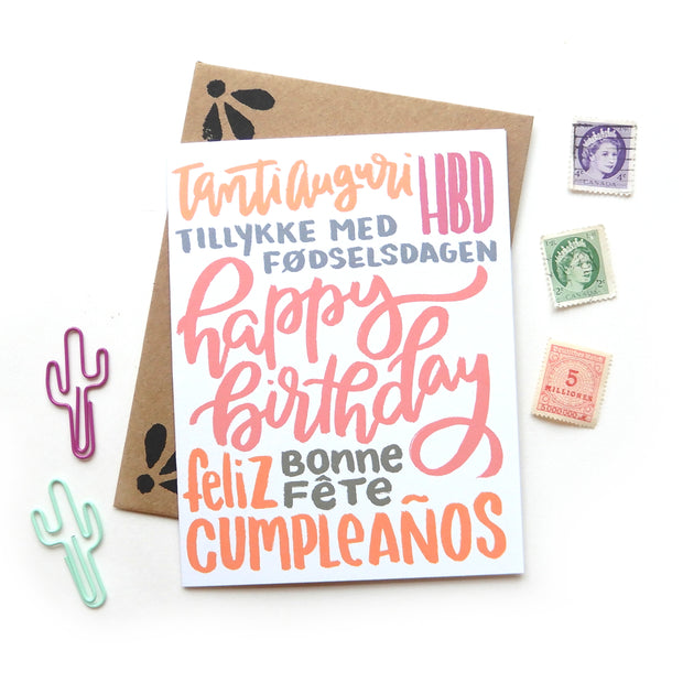 Multi Language Birthday Card 1