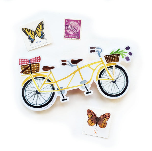 Yellow Tandem Bicycle Sticker 1