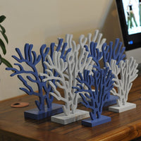 Set of Three Wooden Coral Decor White or Blue