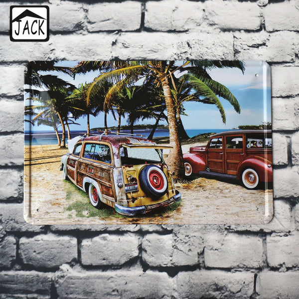SUV Car on the Beach Metal Tin Sign 20*30CM Cafe Shop Office Garage Lounge Club Bar Plaque Poster Wall Decor