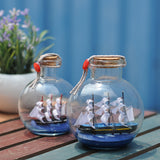 Sailing Boat in Drift Bottle Mediterranean Glass Pirate Ship Wishing Bottle Nautical Home Decor Gifts Crafts